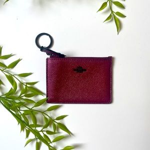 Coach wallet Raspberry card holder with key chain